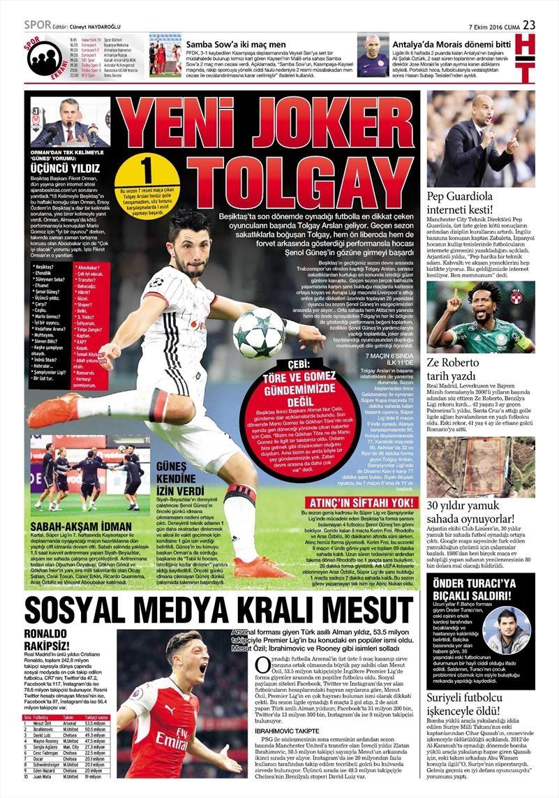 7 Ekim 2016 | Beşiktaş sayfaları 6
