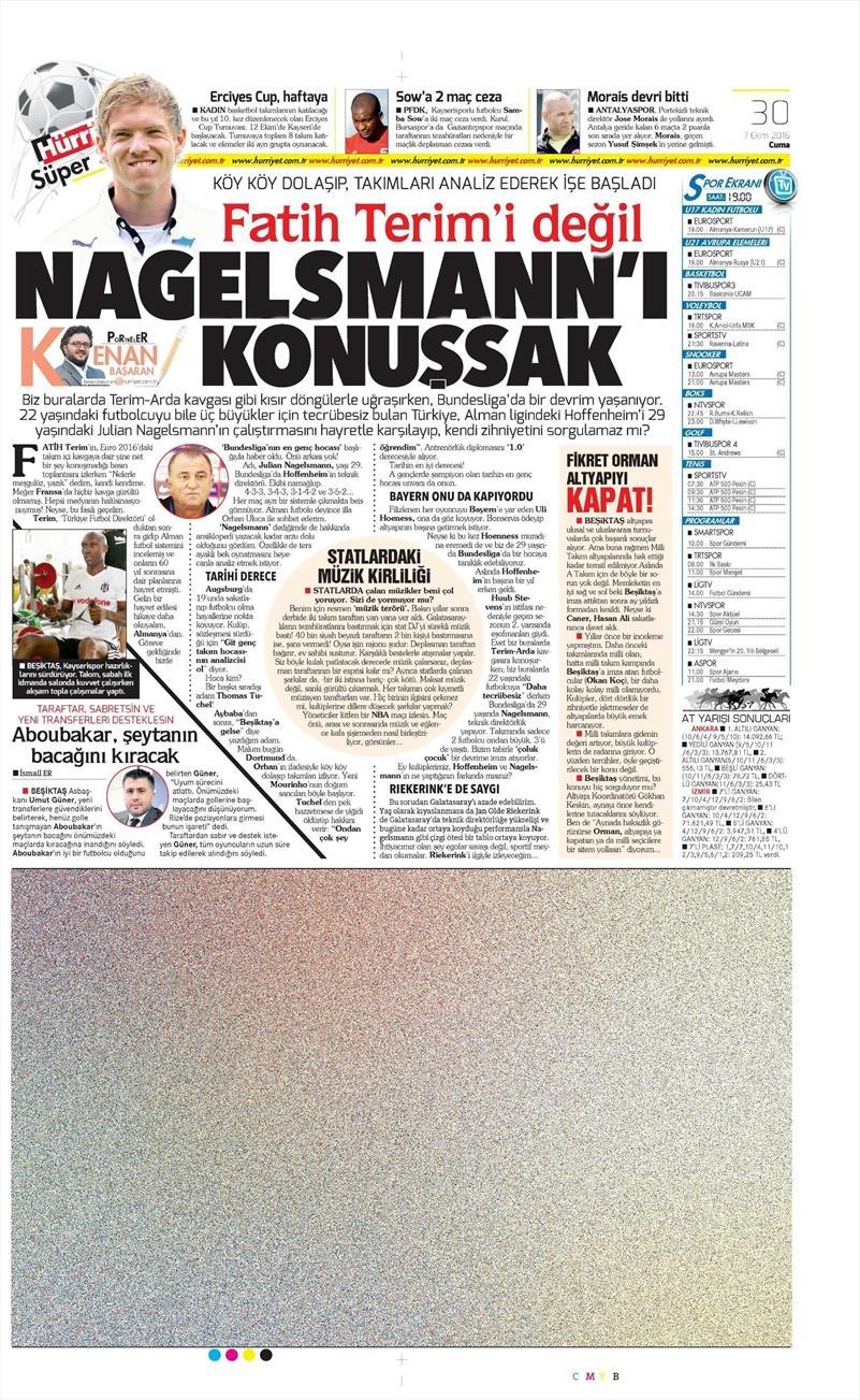 7 Ekim 2016 | Beşiktaş sayfaları 7
