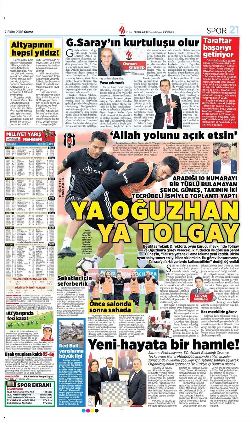 7 Ekim 2016 | Beşiktaş sayfaları 8