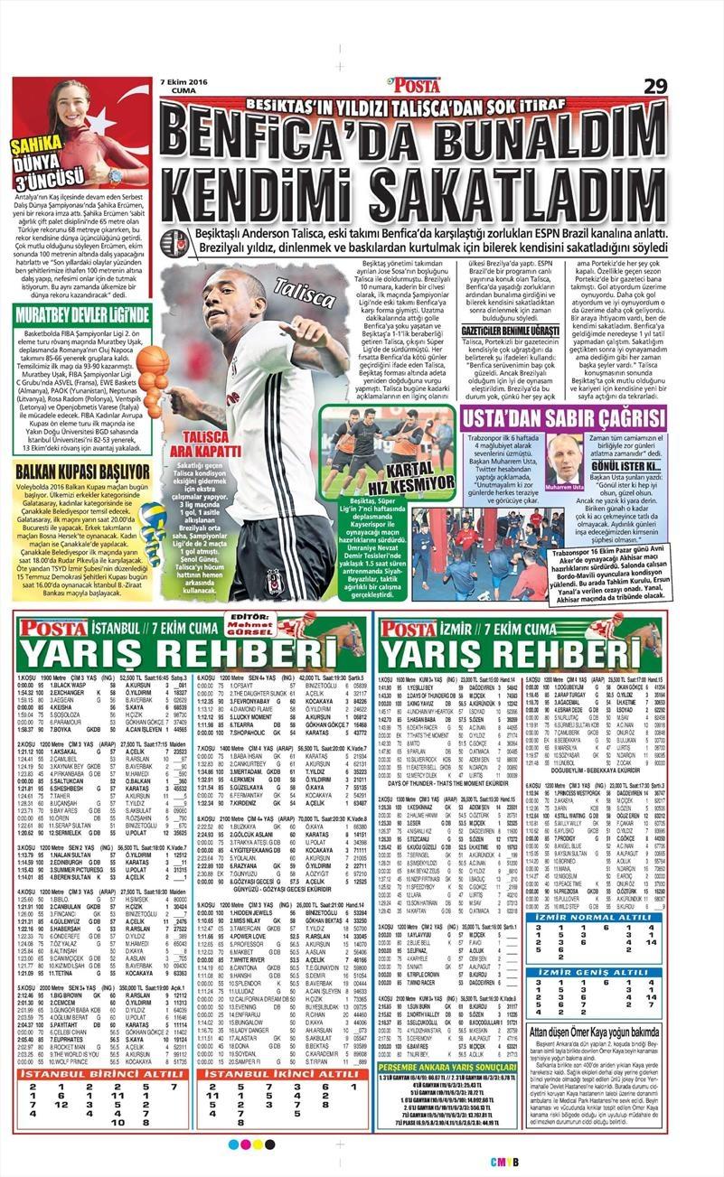 7 Ekim 2016   Beşiktaş sayfaları 9