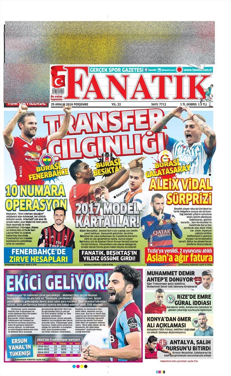 29 Aralık 2016 | İşte gazetelerin Beşiktaş manşetleri 1