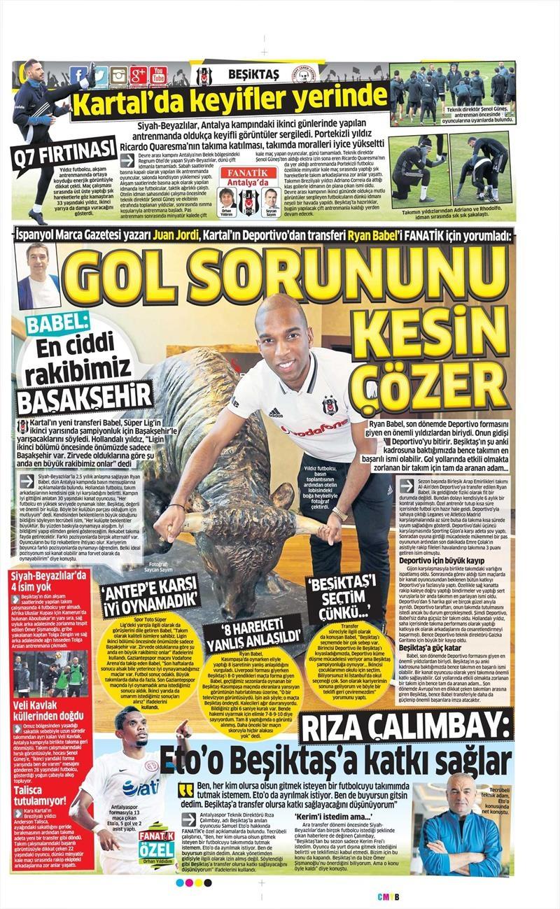 4 Ocak 2017 | İşte gazetelerin Beşiktaş manşetleri 1