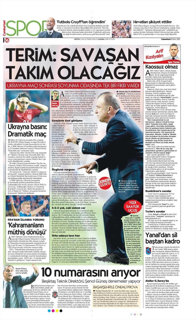 8 Ekim 2016 | Beşiktaş sayfaları 1