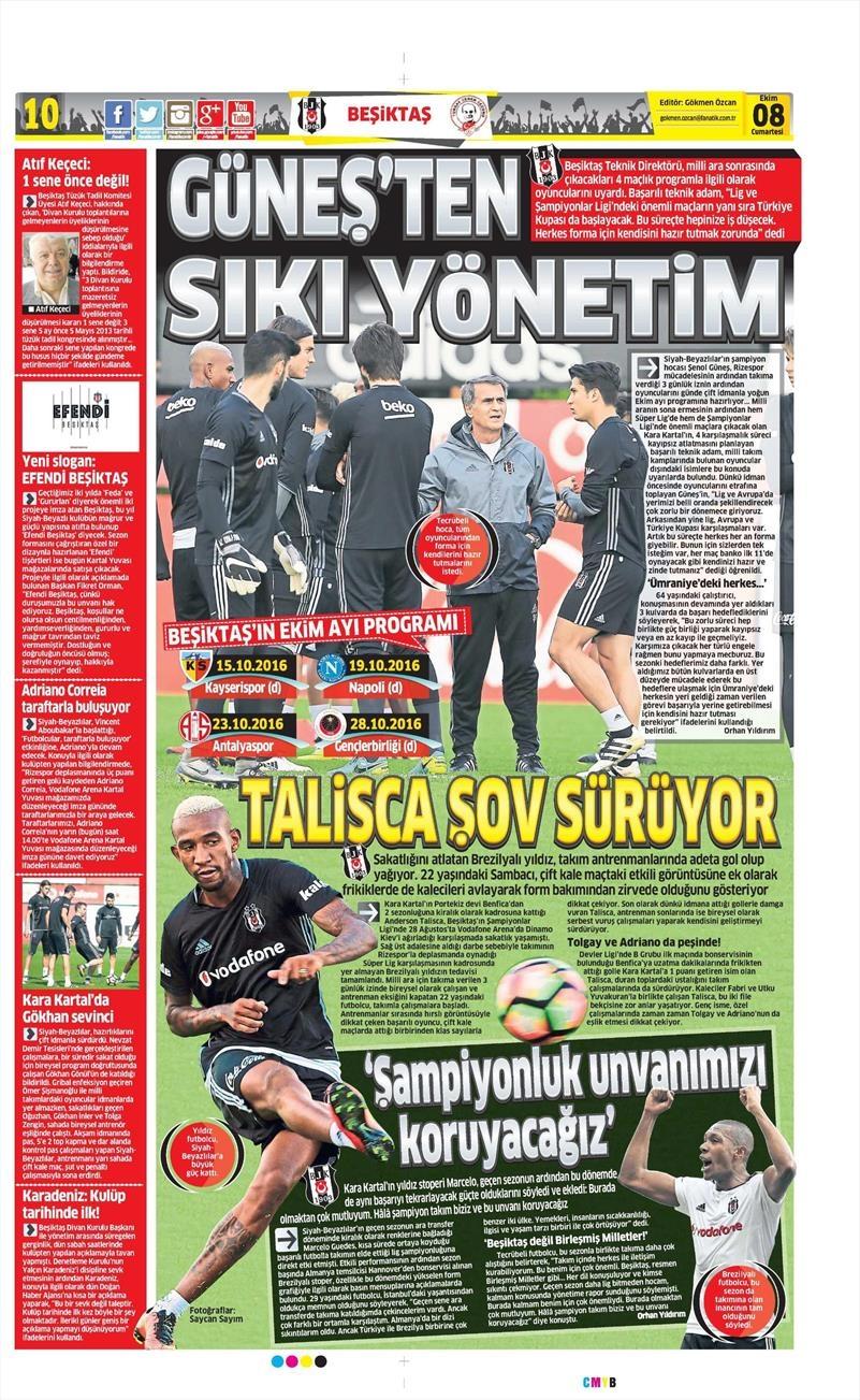 8 Ekim 2016 | Beşiktaş sayfaları 3