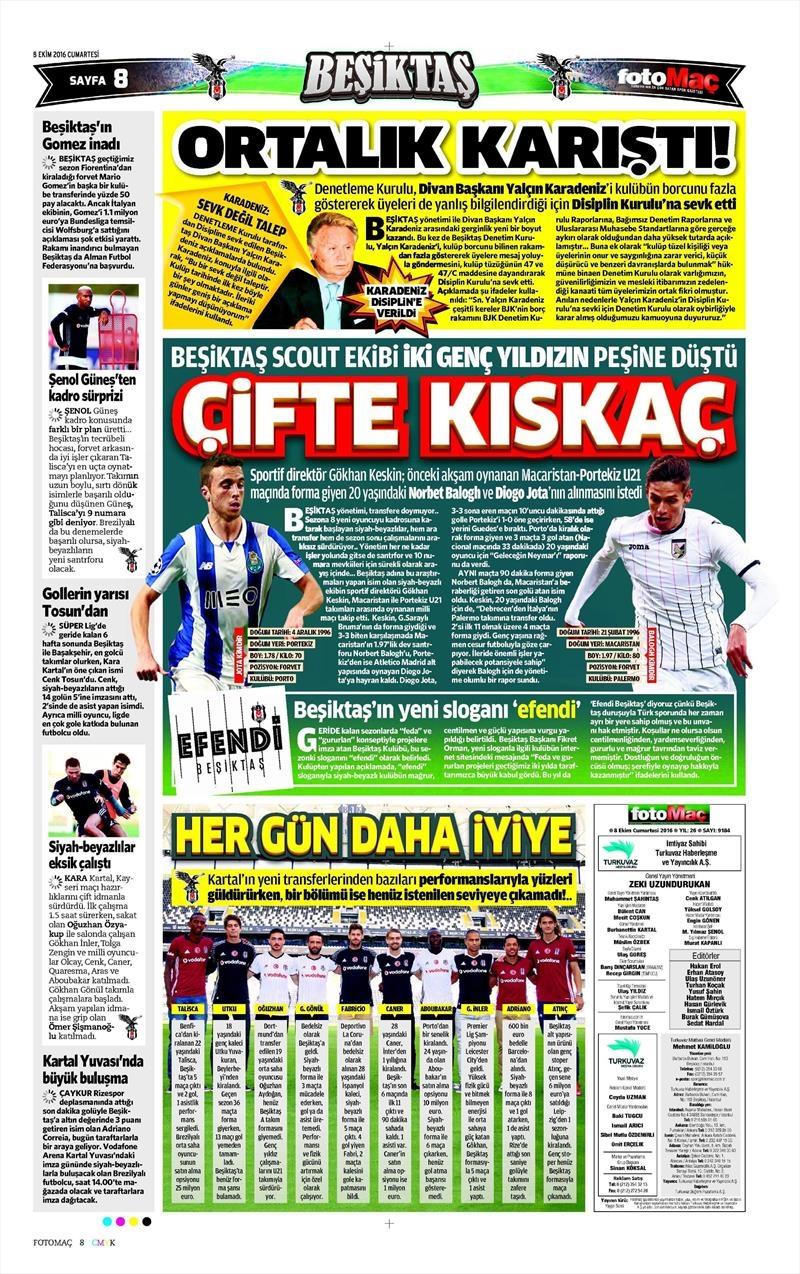 8 Ekim 2016 | Beşiktaş sayfaları 4