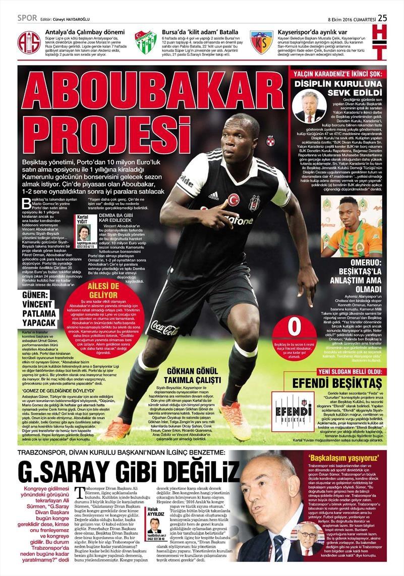 8 Ekim 2016 | Beşiktaş sayfaları 5