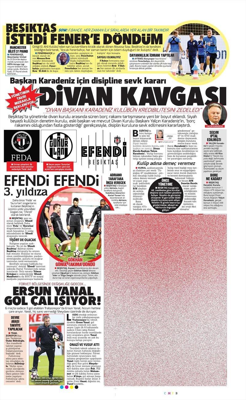 8 Ekim 2016 | Beşiktaş sayfaları 6