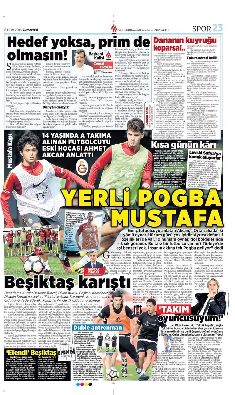 8 Ekim 2016 | Beşiktaş sayfaları 7