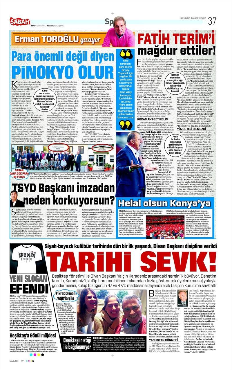 8 Ekim 2016 | Beşiktaş sayfaları 8