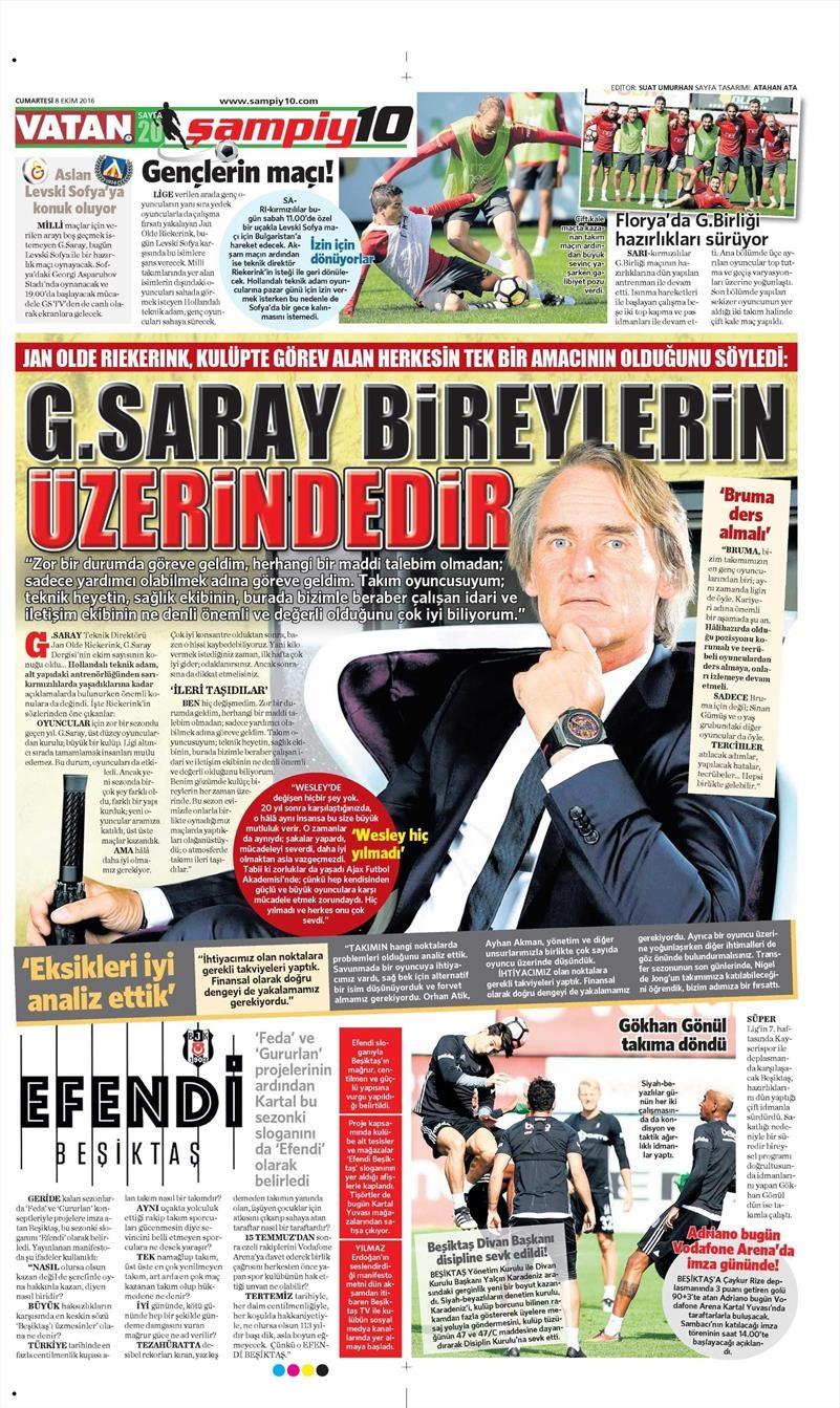 8 Ekim 2016 | Beşiktaş sayfaları 9