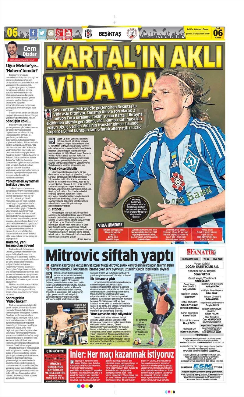 6 Ocak 2017 | İşte gazetelerin Beşiktaş manşetleri 1