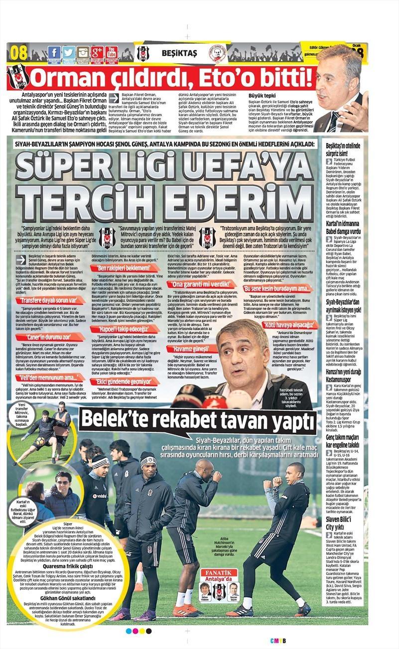 8 Ocak 2017 | İşte gazetelerin Beşiktaş manşetleri 1