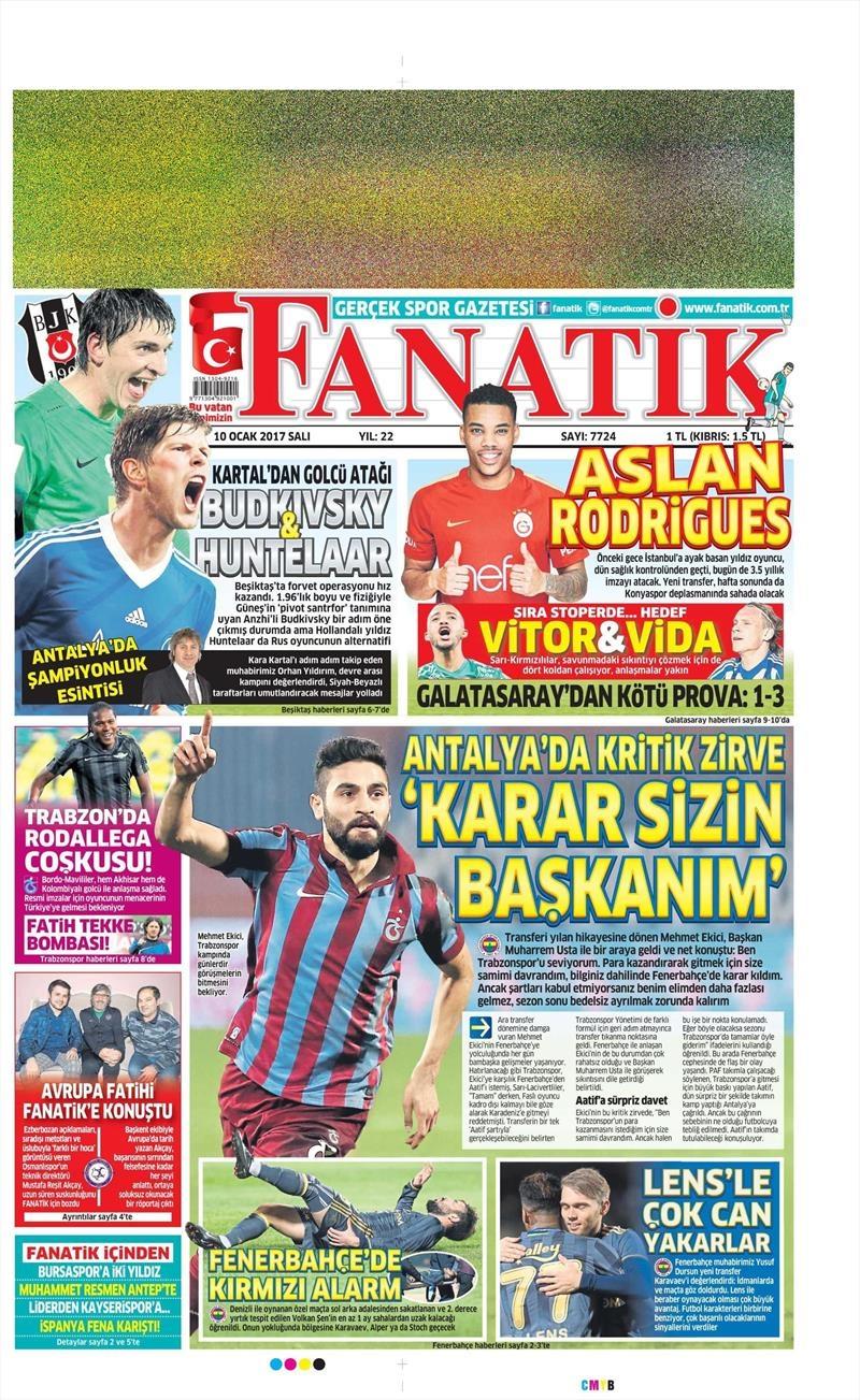 10 Ocak 2017 | İşte gazetelerin Beşiktaş manşetleri 1