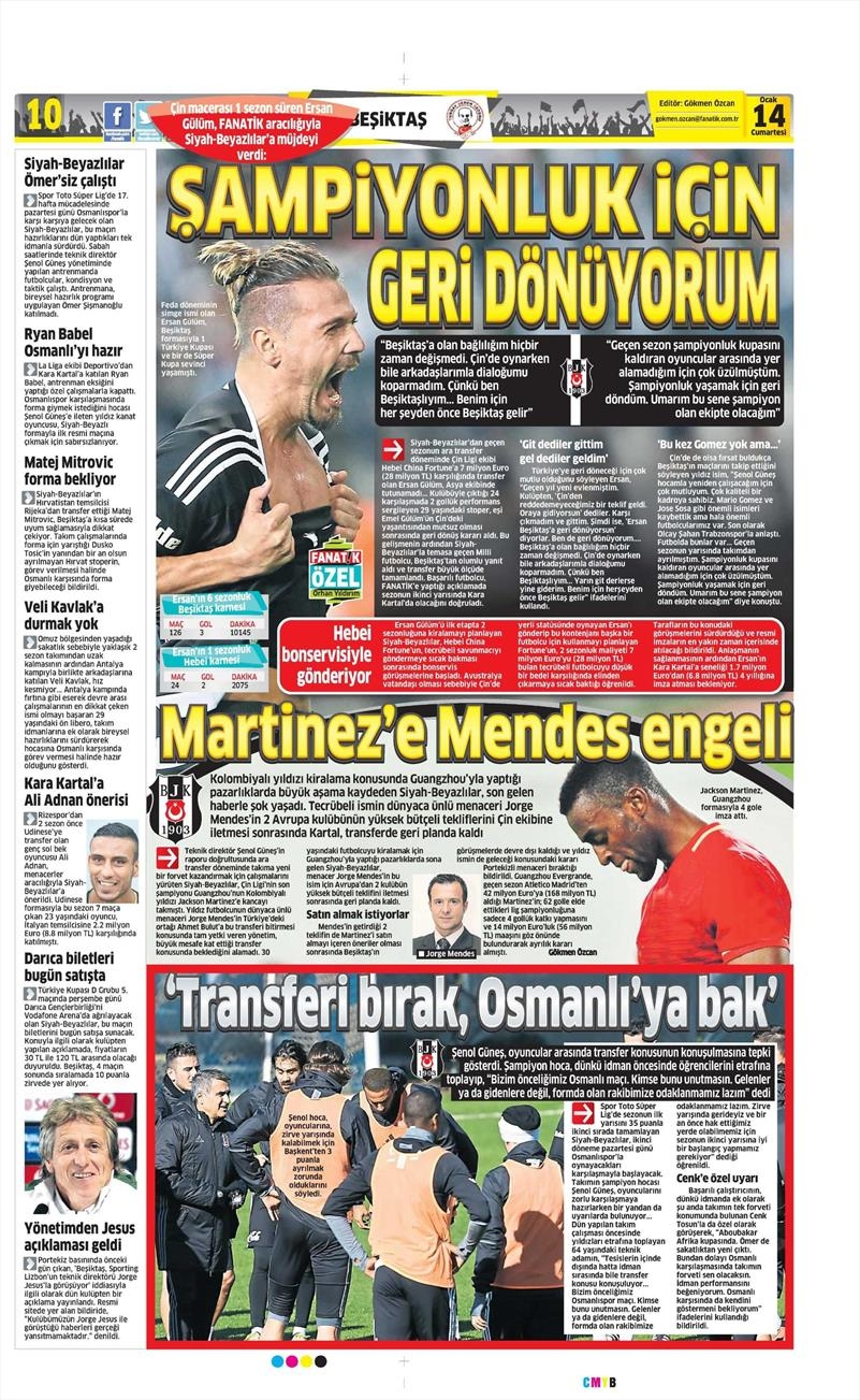 14 Ocak 2017 | İşte gazetelerin Beşiktaş manşetleri 1