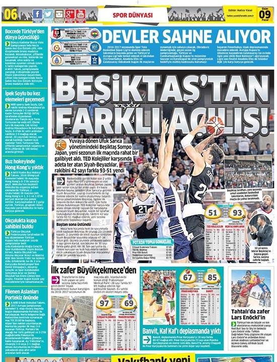 9 Ekim 2016 | Gazetelerin Beşiktaş sayfaları 1