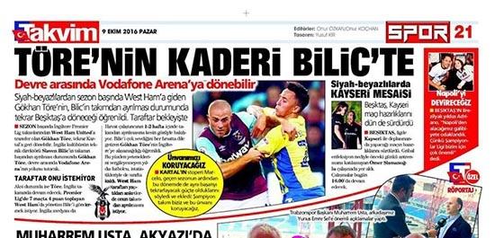 9 Ekim 2016   Gazetelerin Beşiktaş sayfaları 10