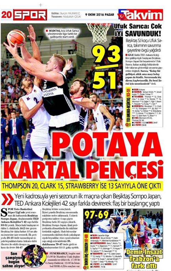 9 Ekim 2016 | Gazetelerin Beşiktaş sayfaları 11