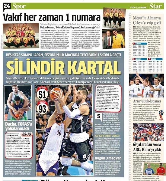 9 Ekim 2016 | Gazetelerin Beşiktaş sayfaları 13