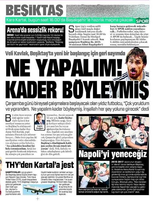 9 Ekim 2016   Gazetelerin Beşiktaş sayfaları 14