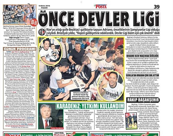 9 Ekim 2016 | Gazetelerin Beşiktaş sayfaları 15