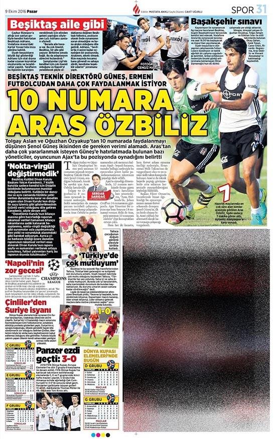9 Ekim 2016 | Gazetelerin Beşiktaş sayfaları 16