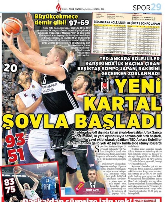 9 Ekim 2016   Gazetelerin Beşiktaş sayfaları 17