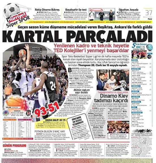 9 Ekim 2016 | Gazetelerin Beşiktaş sayfaları 18