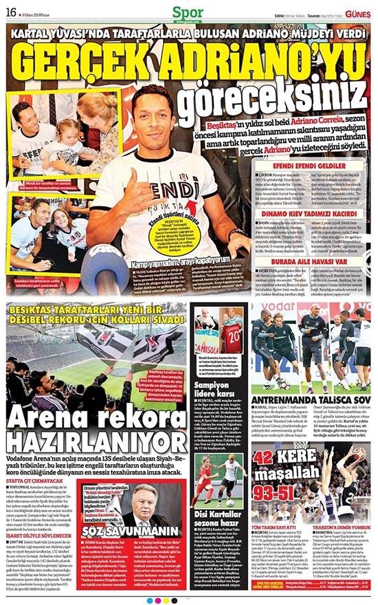 9 Ekim 2016 | Gazetelerin Beşiktaş sayfaları 19