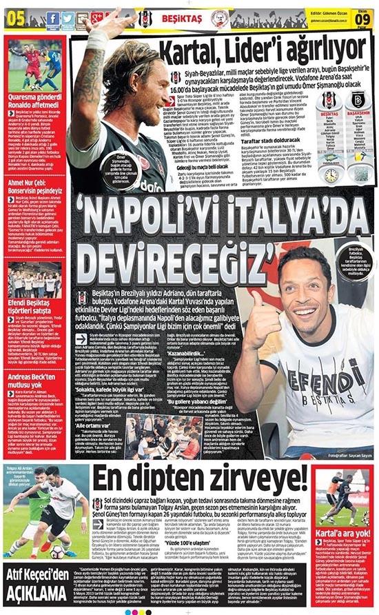 9 Ekim 2016 | Gazetelerin Beşiktaş sayfaları 2
