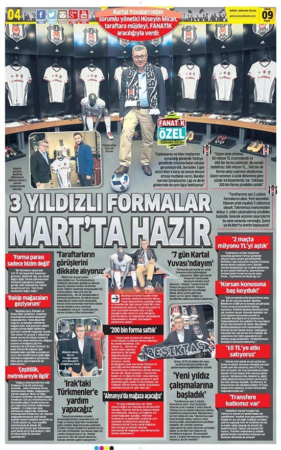 9 Ekim 2016 | Gazetelerin Beşiktaş sayfaları 3