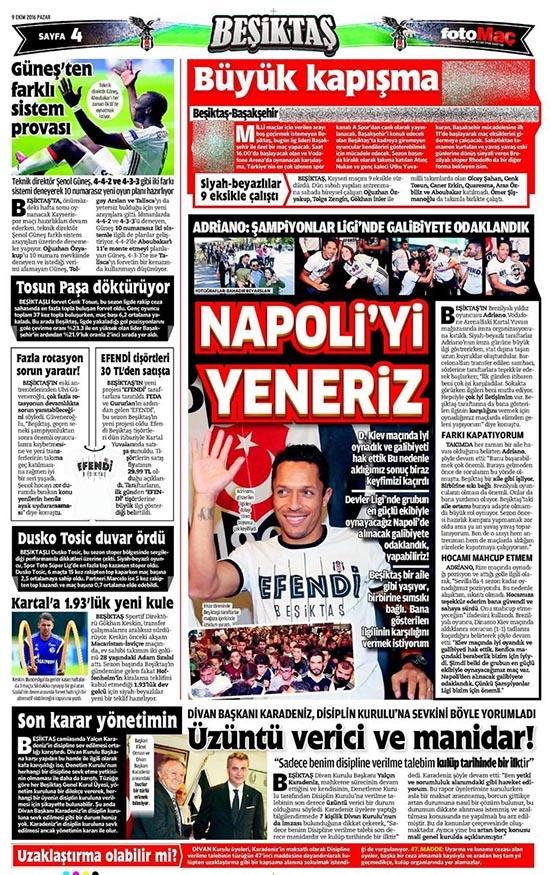 9 Ekim 2016 | Gazetelerin Beşiktaş sayfaları 6