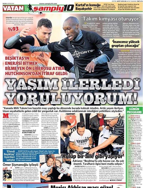 9 Ekim 2016 | Gazetelerin Beşiktaş sayfaları 9