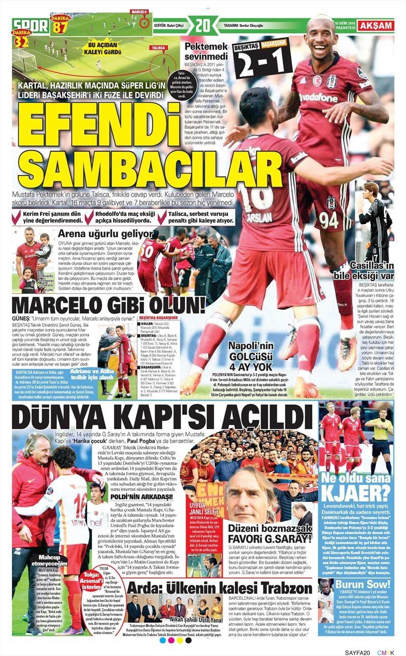 10 Ekim 2016 | Gazetelerin Beşiktaş Sayfaları 1