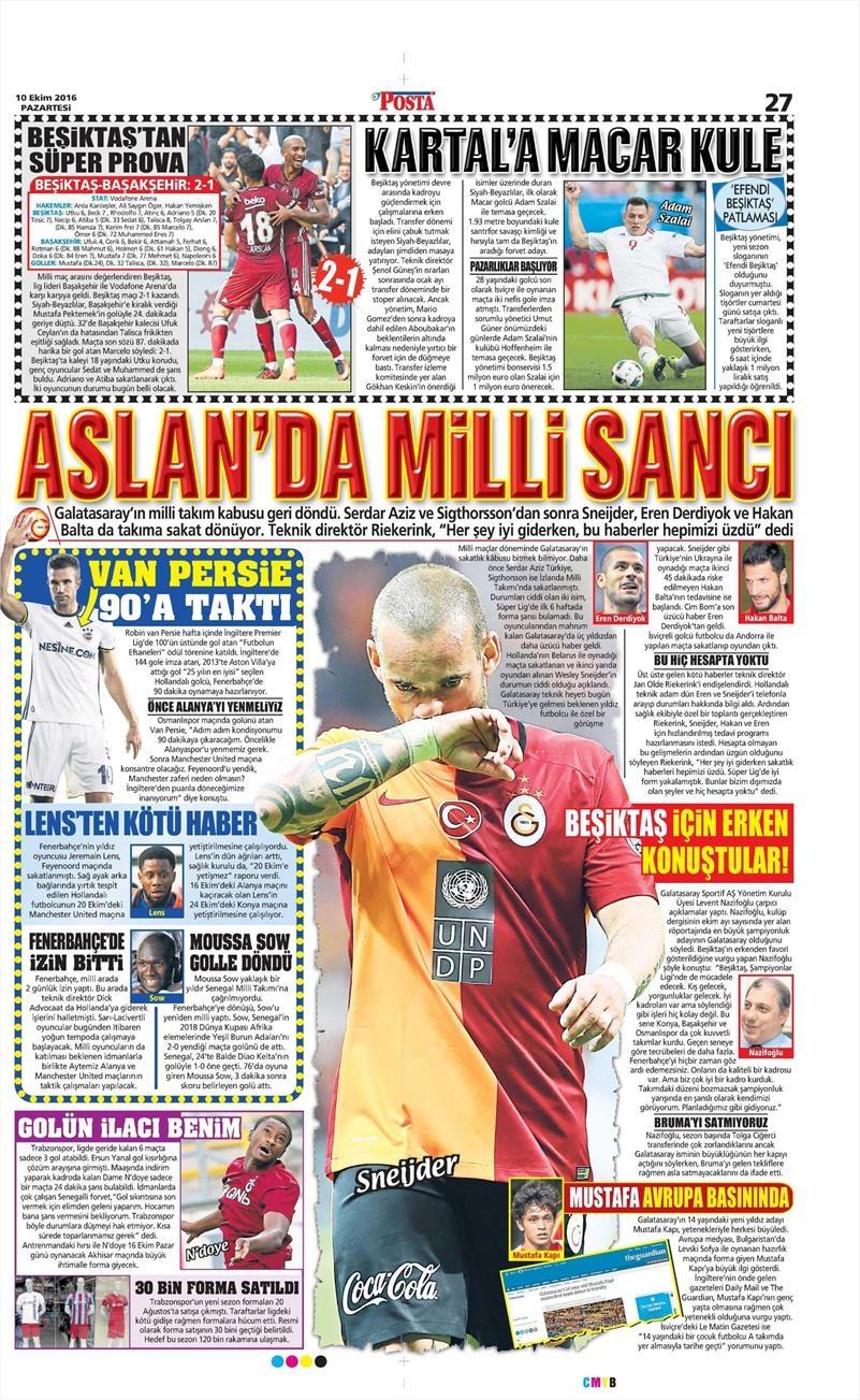 10 Ekim 2016 | Gazetelerin Beşiktaş Sayfaları 11