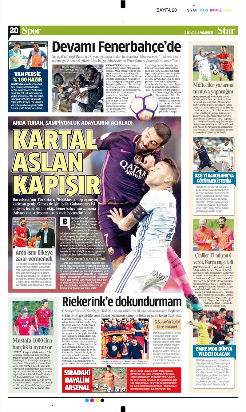 10 Ekim 2016 | Gazetelerin Beşiktaş Sayfaları 12