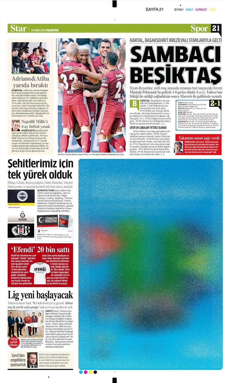 10 Ekim 2016 | Gazetelerin Beşiktaş Sayfaları 13