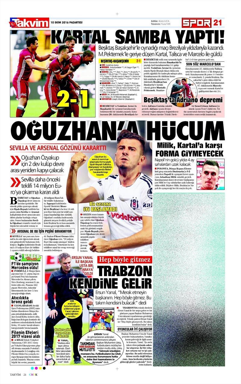 10 Ekim 2016 | Gazetelerin Beşiktaş Sayfaları 14