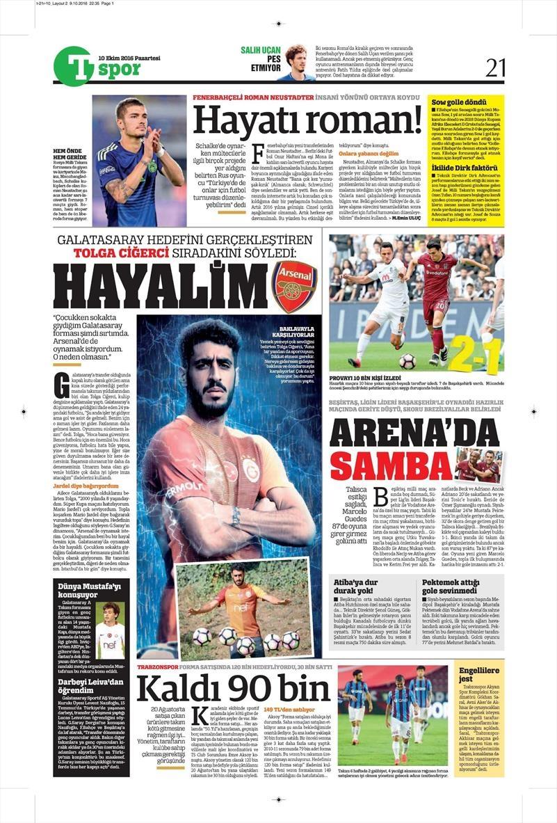10 Ekim 2016 | Gazetelerin Beşiktaş Sayfaları 15