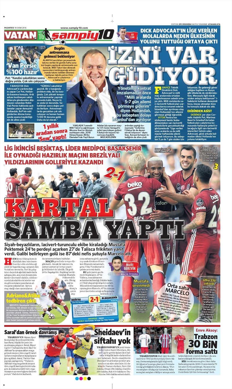 10 Ekim 2016 | Gazetelerin Beşiktaş Sayfaları 16