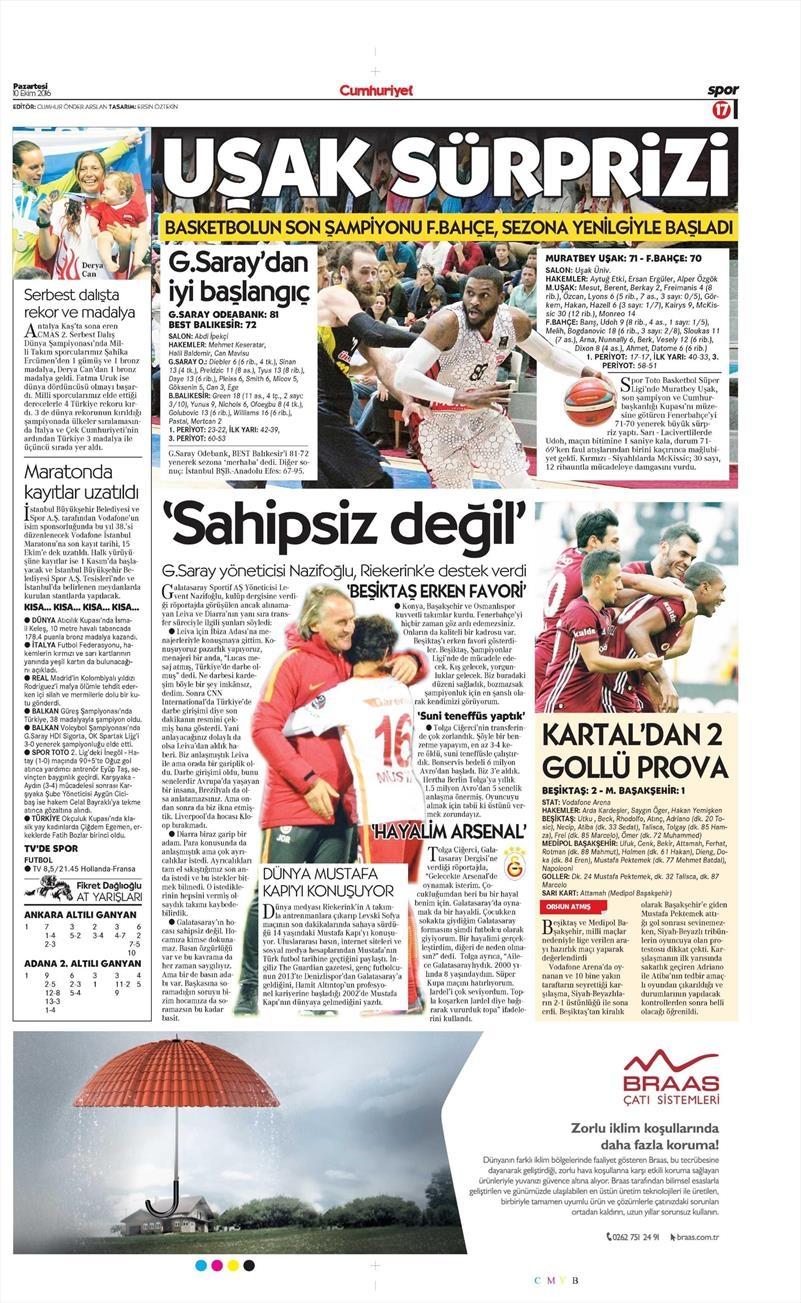 10 Ekim 2016   Gazetelerin Beşiktaş Sayfaları 2