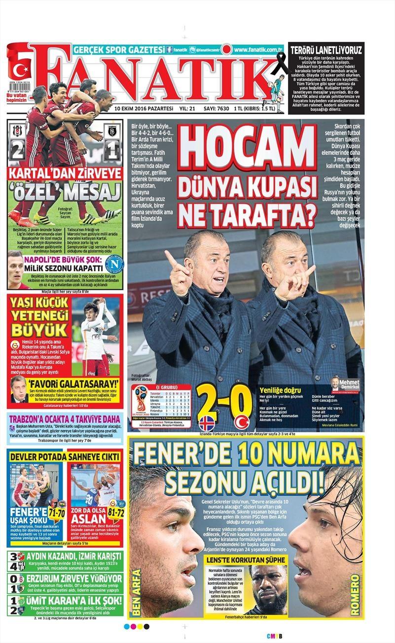 10 Ekim 2016 | Gazetelerin Beşiktaş Sayfaları 3