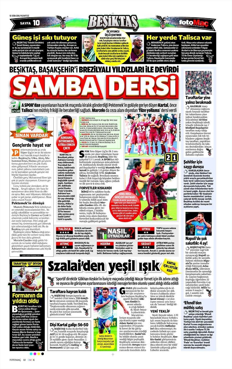 10 Ekim 2016 | Gazetelerin Beşiktaş Sayfaları 6