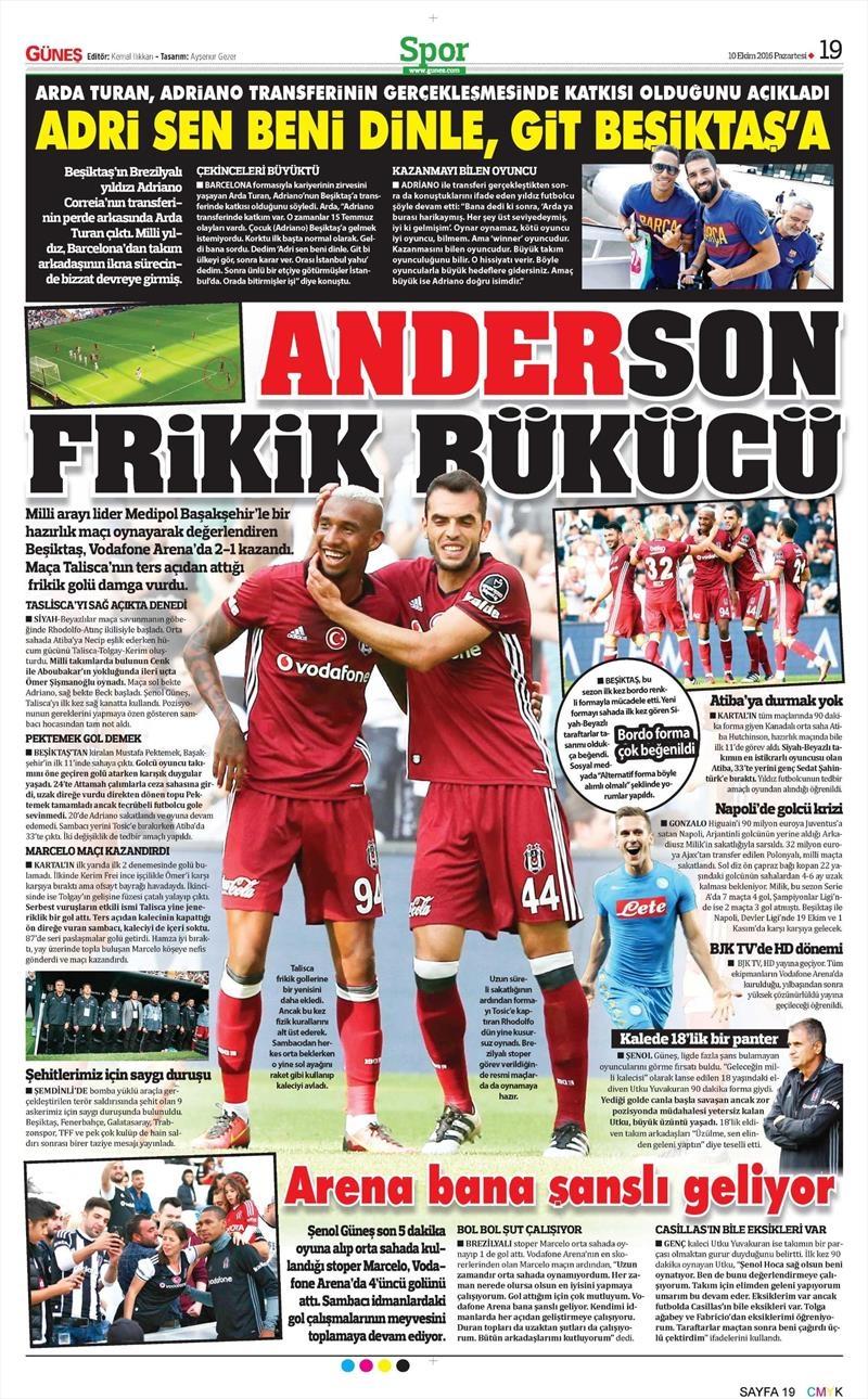 10 Ekim 2016 | Gazetelerin Beşiktaş Sayfaları 7