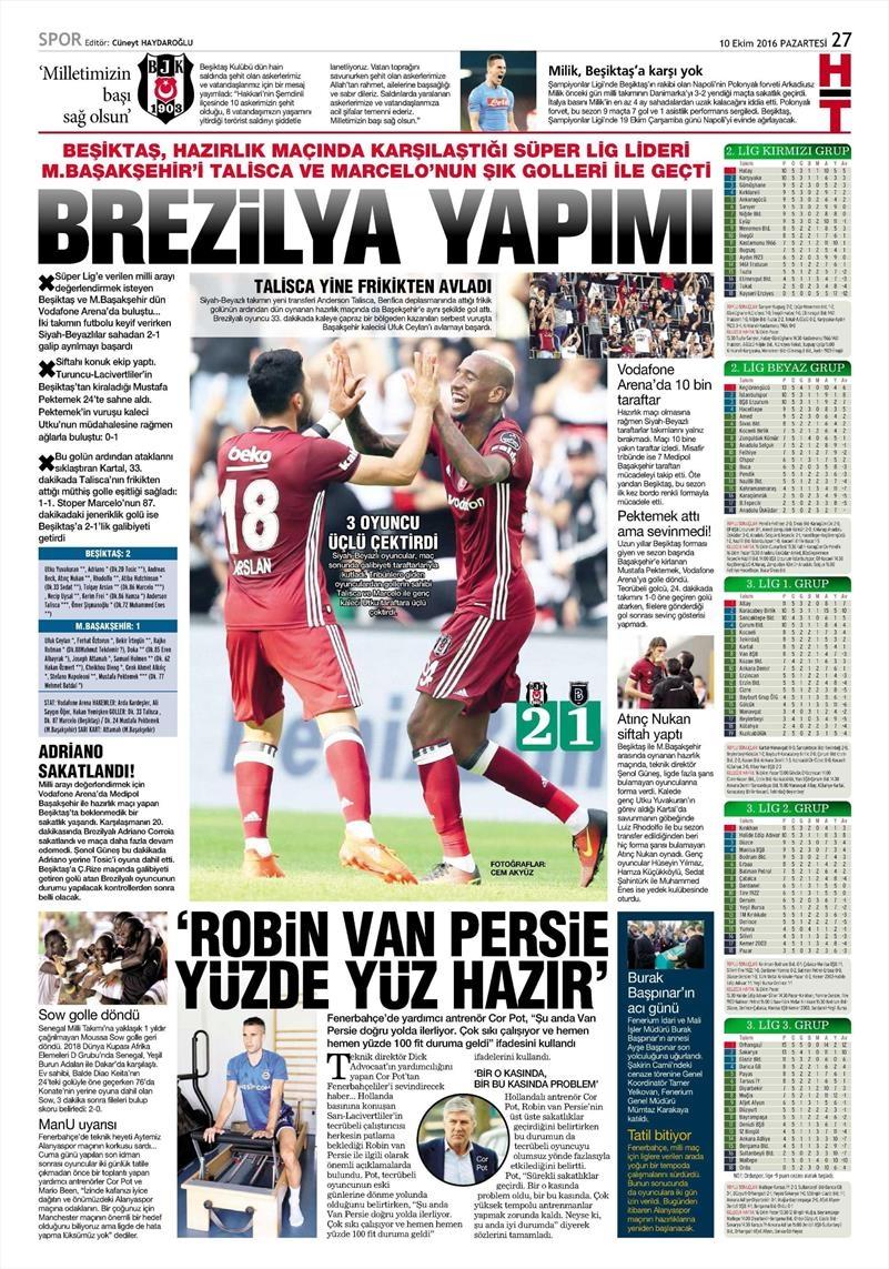 10 Ekim 2016 | Gazetelerin Beşiktaş Sayfaları 8