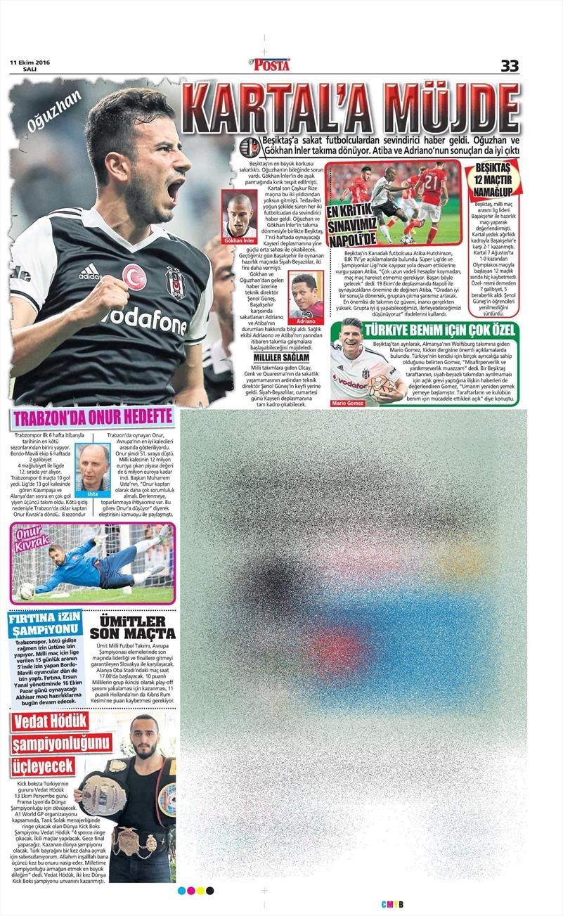 11 Ekim 2016 | Gazetelerin Beşiktaş manşetleri 1