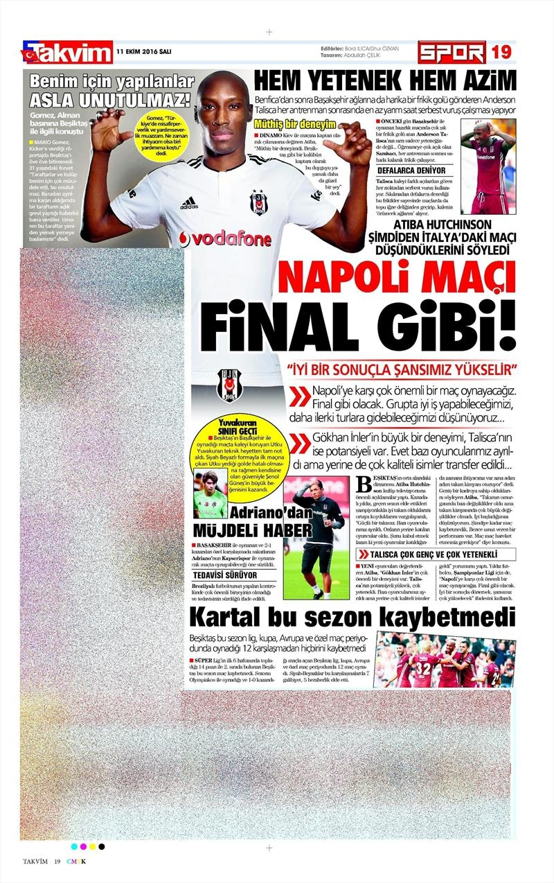 11 Ekim 2016 | Gazetelerin Beşiktaş manşetleri 10