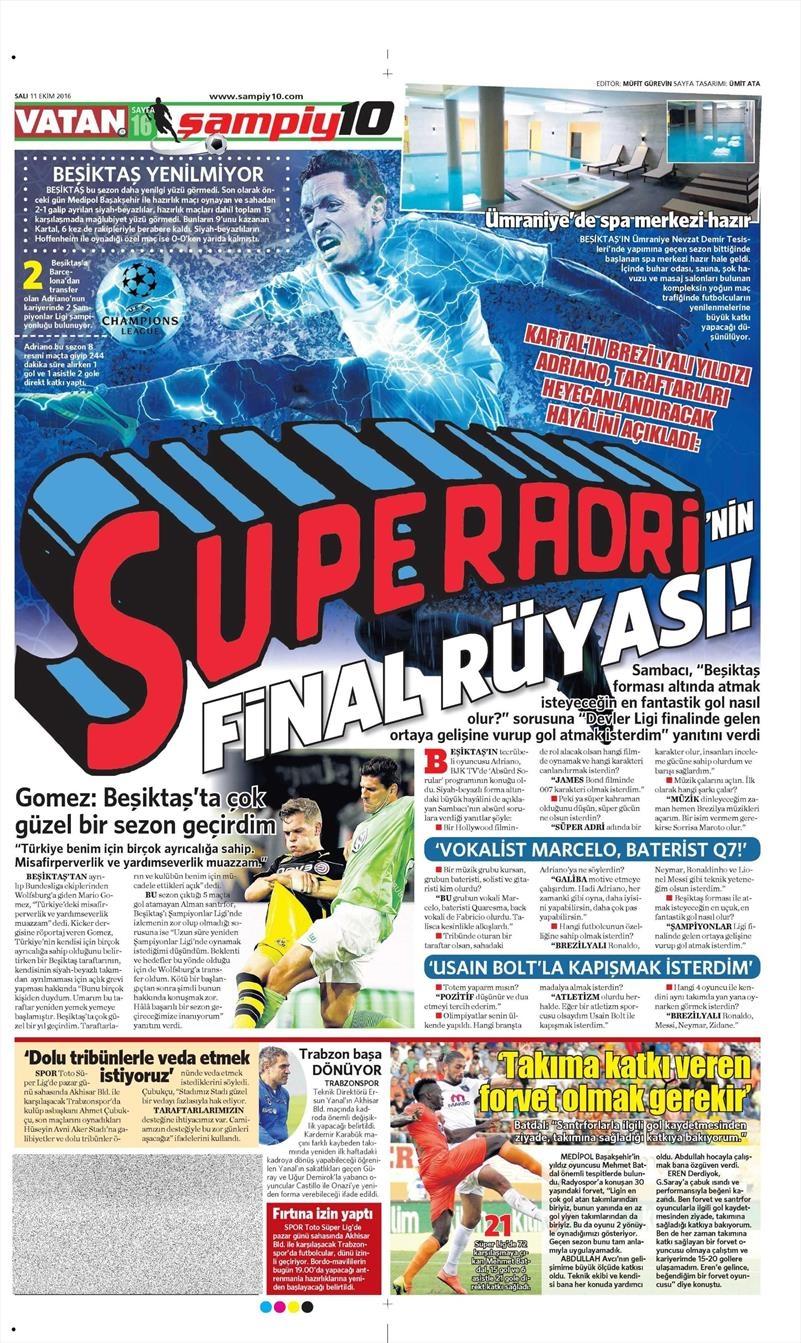 11 Ekim 2016 | Gazetelerin Beşiktaş manşetleri 12