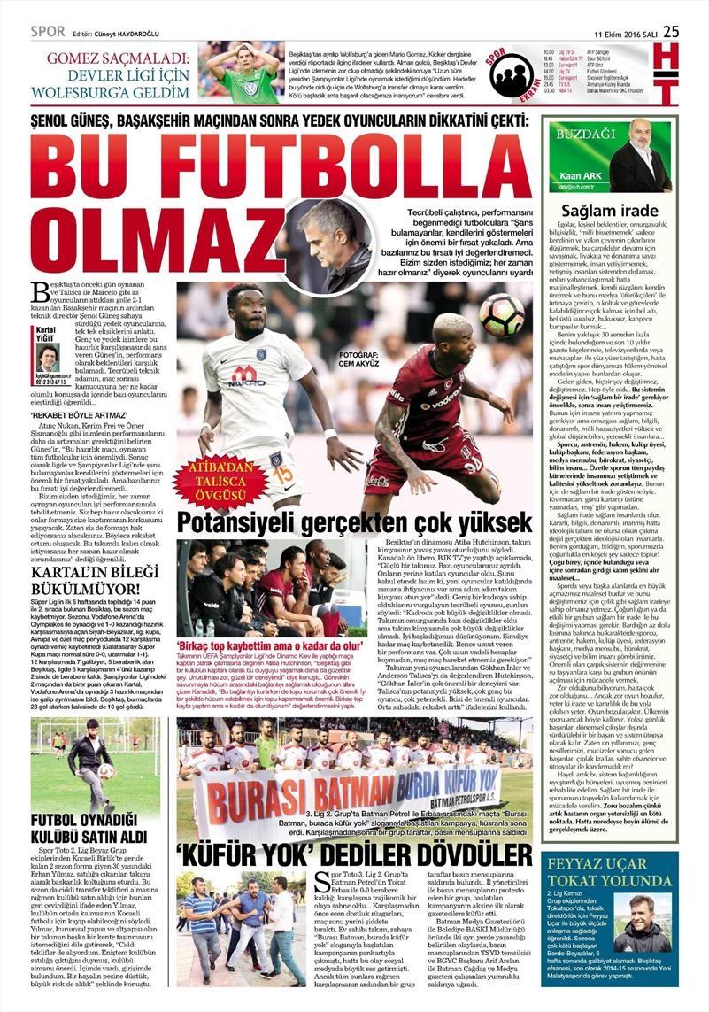 11 Ekim 2016 | Gazetelerin Beşiktaş manşetleri 4