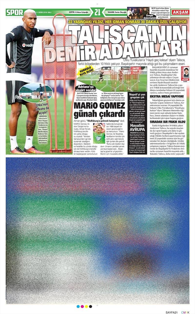 11 Ekim 2016 | Gazetelerin Beşiktaş manşetleri 6