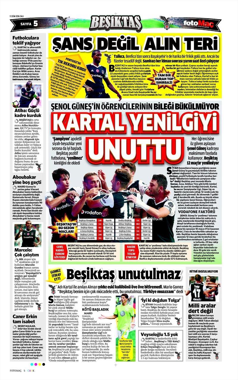 11 Ekim 2016 | Gazetelerin Beşiktaş manşetleri 7